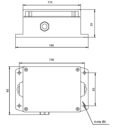 Габаритные размеры газоанализатора Сенсон-СВ-5023 в металлическом корпусе