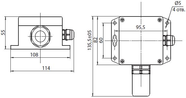 Габаритные размеры газоанализатора Сенсон-СД-7032 в пластиковом корпусе