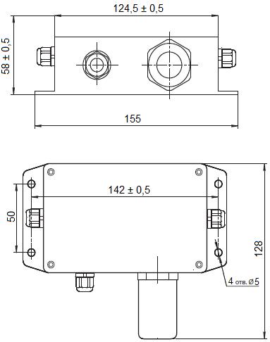 Габаритные размеры газоанализатора Сенсон-СД-7033 в металлическом корпусе