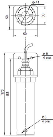 Габаритные размеры газоанализатора Сенсон-СД-7031 в металлическом корпусе
