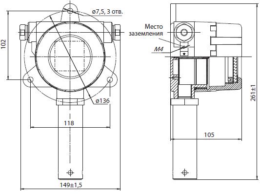 Габаритные размеры газоанализатора Сенсон-СВ-5021 в металлическом корпусе