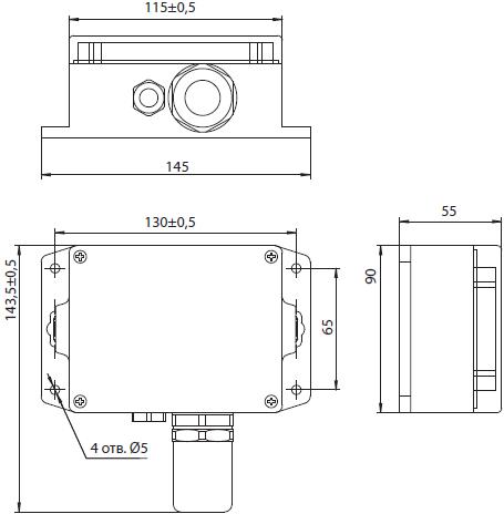 Габаритные размеры газоанализатора Сенсон-СВ-5022 в пластиковом корпусе